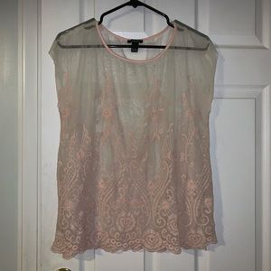 Forever 21 blush mesh top, size large